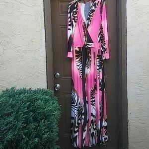 Good Time USA Dresses - Long Animal Print Faux Wrap